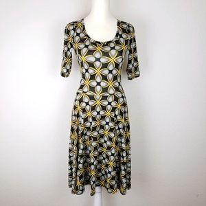 LulaRoe abstract black and yellow skater dress